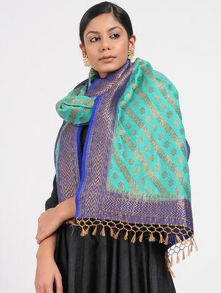 Turquoise-Blue Benarasi Muga Silk Stole