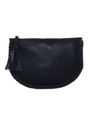 Black Handcrafted Leather Clutch with Tassels