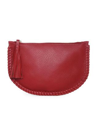 Red Handcrafted Leather Clutch with Tassels