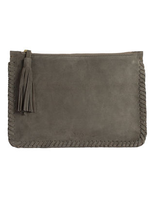 Grey Hand-Crafted Leather Clutch with Tassels