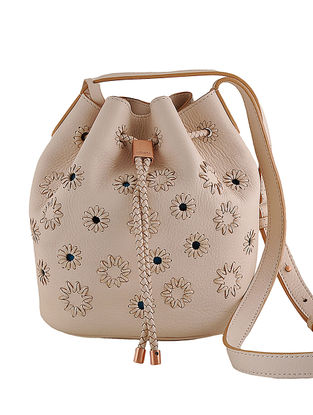 Cream Hand-Crafted Leather Mini Bucket Bag