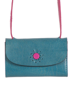 Blue-Pink Hand-Crafted Leather Card Case