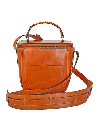 Tan Hand-Crafted Leather Crossbody Bag
