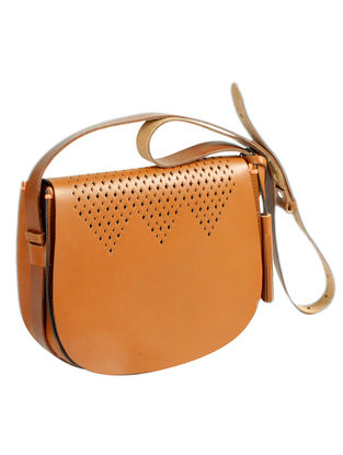 Tan Hand-Crafted Leather Mini Saddle Bag