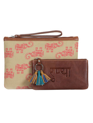 Tan-Beige Hand-Crafted Canvas and Leather Pouch