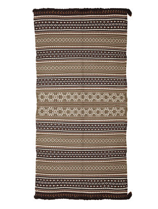Brown-Ivory Wool-Cotton Carpet by Jaypore