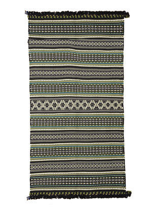Black-Multicolor Wool-Cotton Carpet by Jaypore