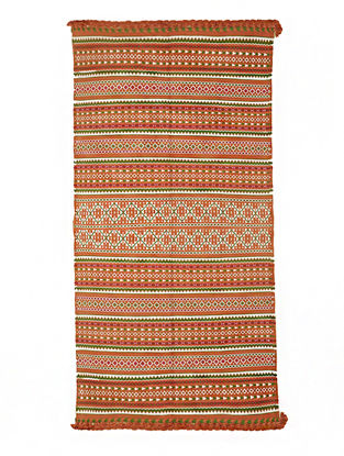 Orange-Ivory Wool-Cotton Carpet by Jaypore