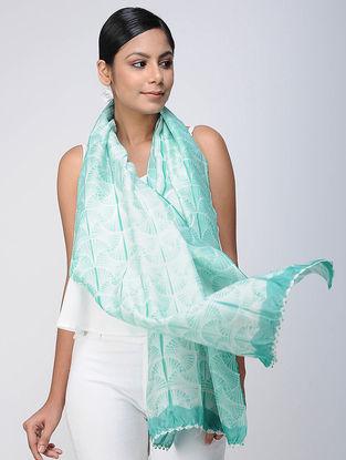 Ivory-Green Shibori Chanderi Scarf
