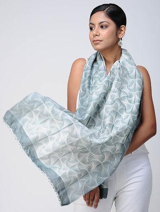 Ivory-Grey Shibori Chanderi Scarf