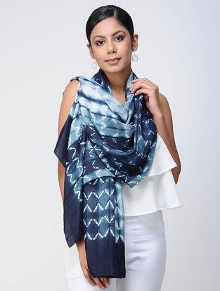 Blue-Ivory Shibori silk Scarf