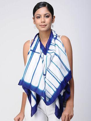 Ivory-Blue Shibori silk Scarf