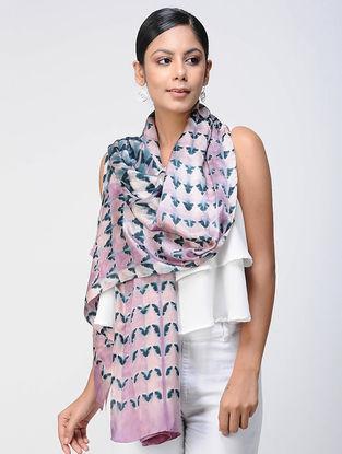 Pink-Black Shibori silk Scarf