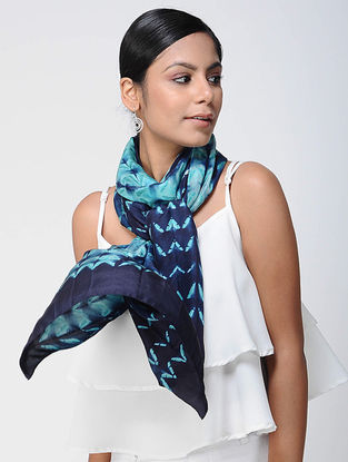 Blue-Green Shibori silk Scarf