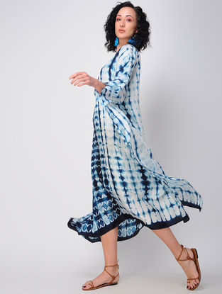 Blue-White Shibori Silk Kaftan
