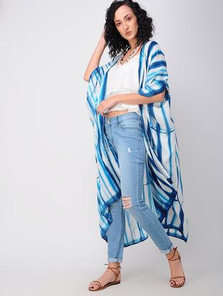 Blue-White Shibori Silk Overlay