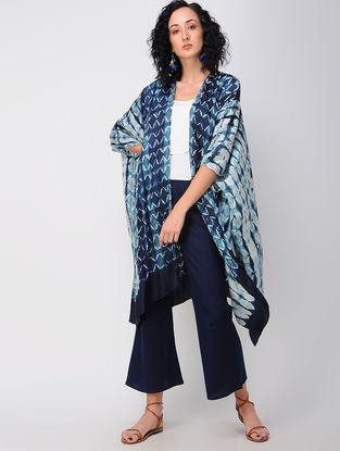 Blue Shibori Silk Overlay