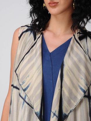 Beige Shibori Silk Overlay