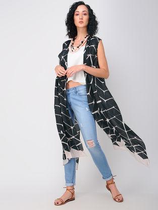 Black Shibori Silk Overlay