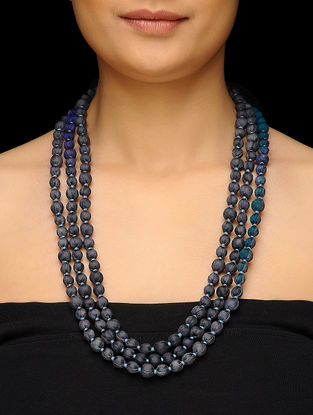 Blue Upcycled Silk Saree Necklace