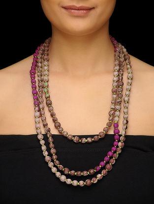 Brown-Purple Upcycled Silk Saree Necklace