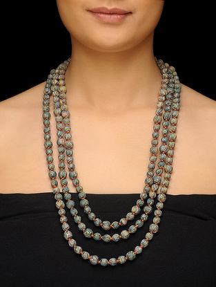 Green-Cream Upcycled Silk Saree Necklace