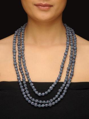 Grey-Blue Upcycled Silk Saree Necklace