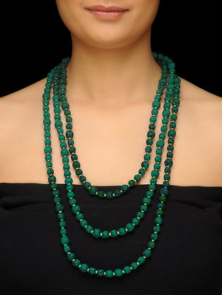 Green Upcycled Silk Saree Necklace