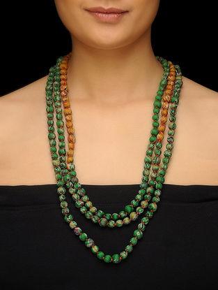 Green-Mustard Upcycled Silk Saree Necklace