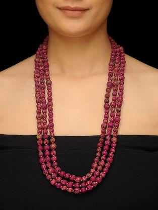Pink Upcycled Silk Saree Necklace