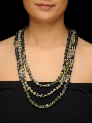 Green-Purple Upcycled Silk Saree Necklace