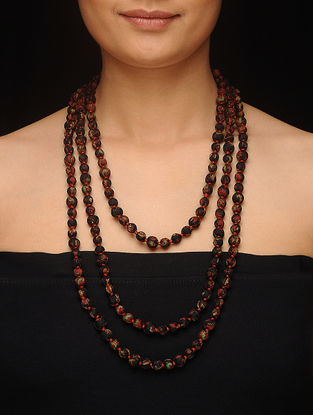 Black-Red Upcycled Silk Saree Necklace