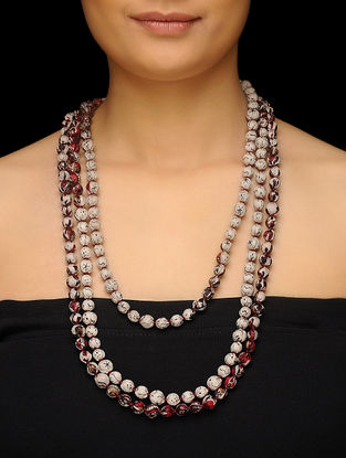 Beige-Maroon Upcycled Silk Saree Necklace