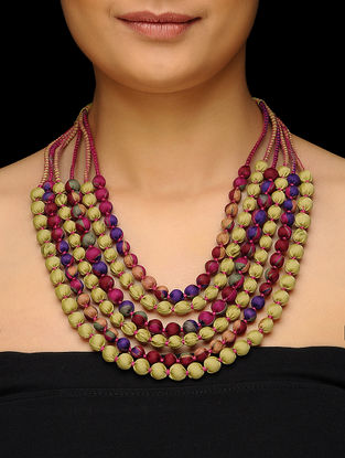 Green-Pink Muti-string Upcycled Silk Saree Necklace