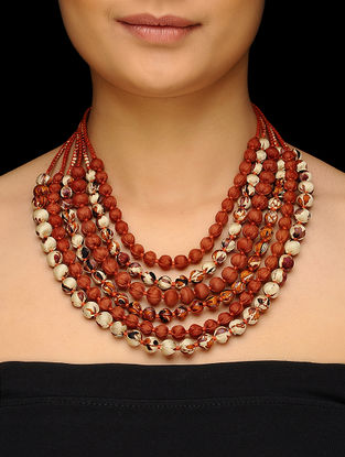 Cream-Brown Multi-string Upcycled Silk Saree Necklace