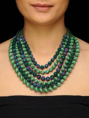 Green Multi-string Upcycled Silk Saree Necklace