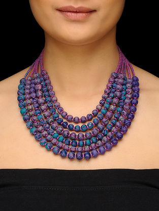 Pink-Blue Multi-string Upcycled Silk Saree Necklace