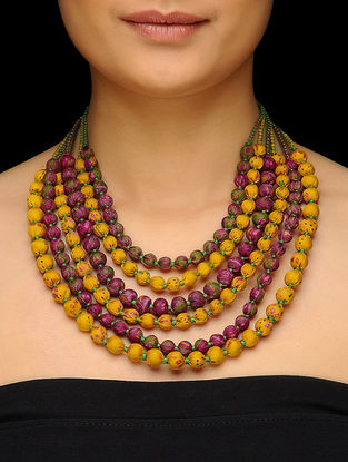 Mustard-Pink Multi-string Upcycled Silk Saree Necklace