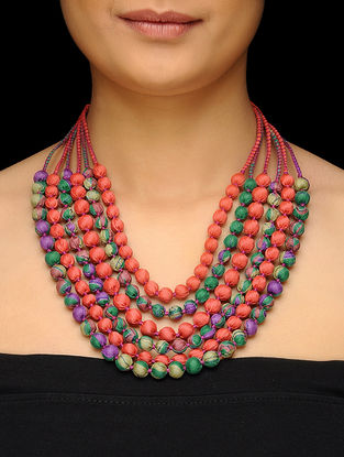 Multicolored Multi-string Upcycled Silk Saree Necklace