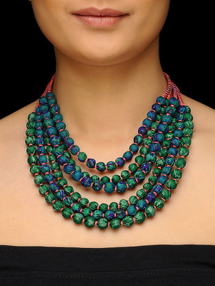 Green-Blue Multi-string Upcycled Silk Saree Necklace