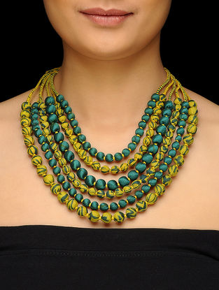 Green-Yellow Multi-string Upcycled Silk Saree Necklace