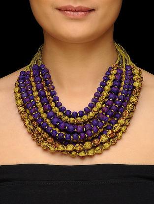 Blue-Mustard Multi-string Upcycled Silk Saree Necklace