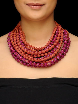 Pink-Red Multi-string Upcycled Silk Saree Necklace