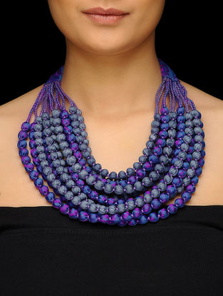Blue-Pink Multi-string Upcycled Silk Saree Necklace