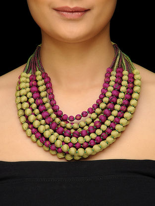 Green-Pink Multi-string Upcycled Silk Saree Necklace