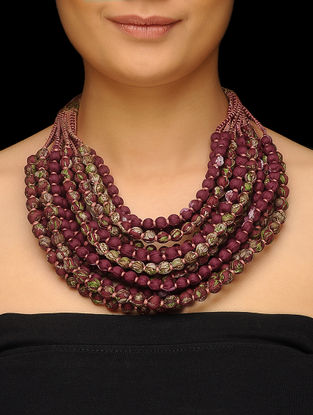 Maroon-Green Multi-string Upcycled Silk Saree Necklace