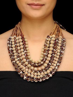 Cream-Orange Multi-string Upcycled Silk Saree Necklace