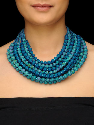 Blue Multi-string Upcycled Silk Saree Necklace