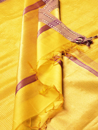 Yellow-Bronze Maheshwari Silk-Cotton Dupatta