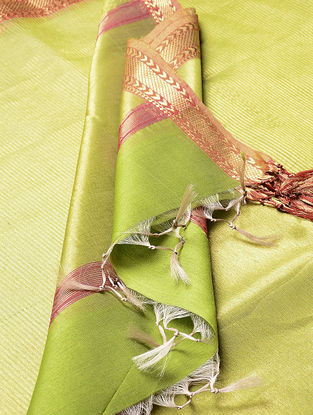 Green-Red Maheshwari Silk-Cotton Dupatta